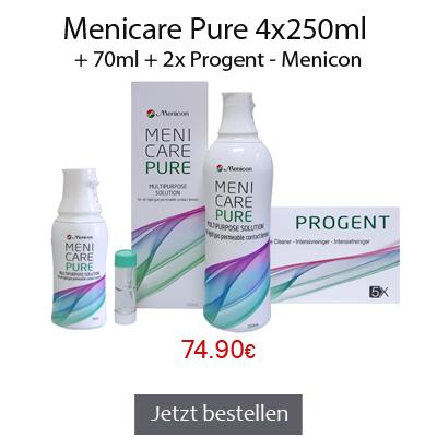 Menicare Pure 4x250ml + 70ml + 2x Progent, Menicon