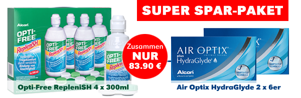 Opti-Free Replenish 4x 300ml, Air Optix HydraGlyde, Alcon, Spar Angebot, günstig