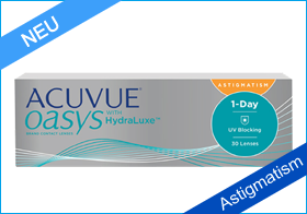 Acuvue Oasys 1-Day HydraLuxe Astigmatism, torische Silikon Hydrogel Linse, Johnson & Johnson, torische Tageslinse, Hornhautverkrümmung