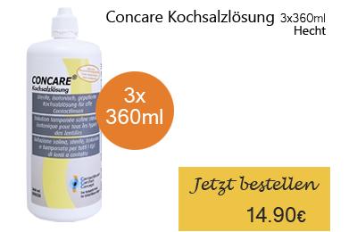 Concare Kochsalzlösung 3x360ml, Hecht Contactlinsen Pflegemittel